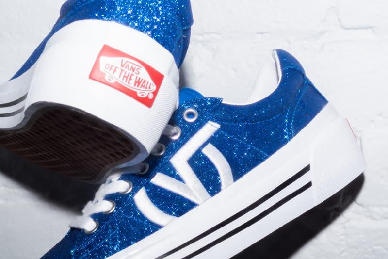 Vans Sid NI Retro Sneaker Release Glitter Design 90s Shoe Streetwear Black Blue Sparkle V Logo Vintage Platform