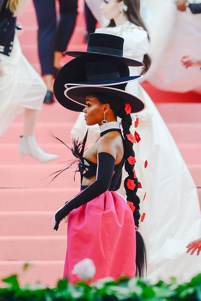 Janelle Monae Hair Hairstyle Met Gala 2019 Red Carpet Camp Notes on Fashion Kiss Lips Ponytail Hats