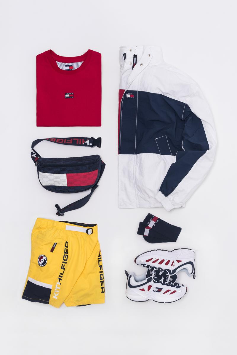 KITH x Tommy Hilifiger Capsule Collection Shirt Red Fanny Pack Blue White Shorts Yellow