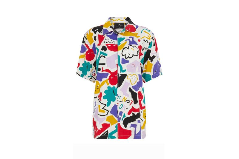 Lazy Oaf Mental Health Awareness Collection Collared Shirt Red Blue White