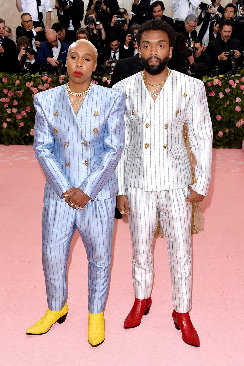 Lena Waithe Kerby Jean Raymond Pyer Moss 2019 Met Gala Camp Notes on Fashion Suits Blue White Boots Yellow Red