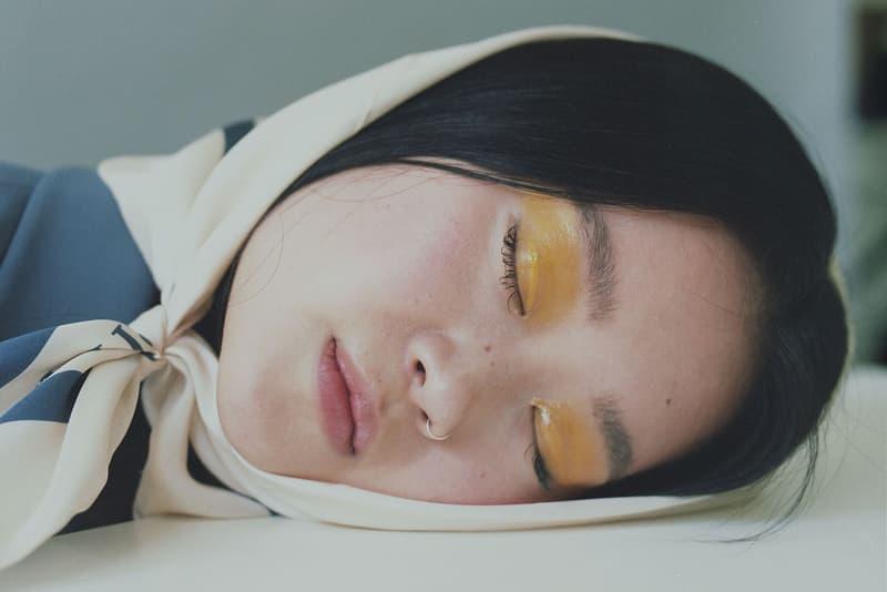 Meditation Mental Health Sleep Girl Scarf Headscarf Yellow Eyeshadow Makeup Glossy Eyelids Eyelashes