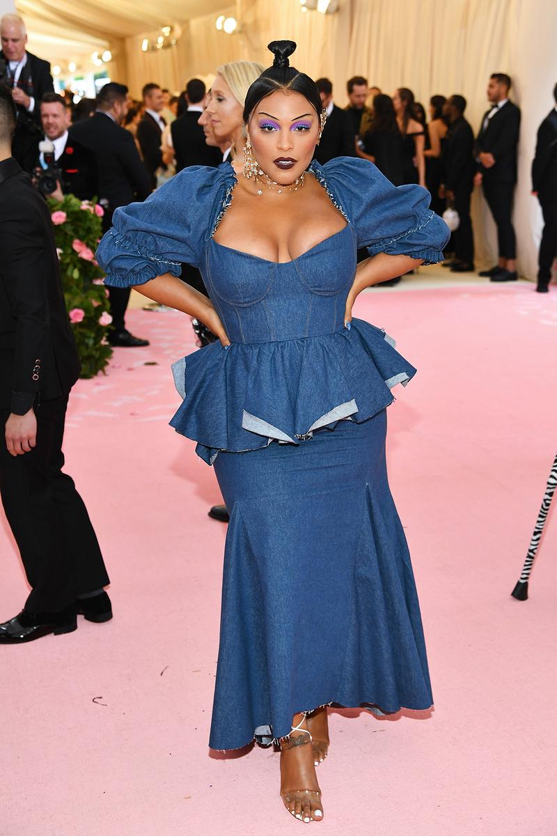 Paloma Elsesser Met Gala 2019 Red Carpet Camp Notes on Fashion Denim Blue Dress