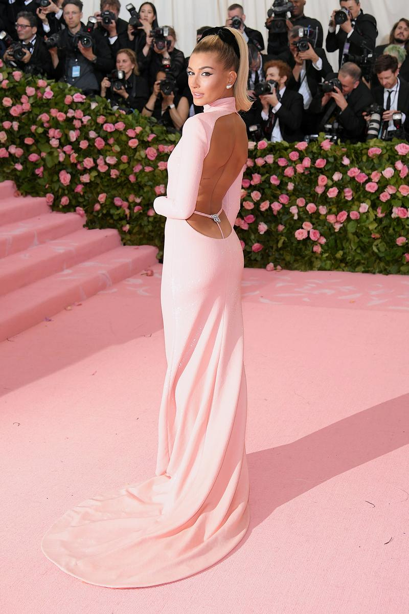 Hailey Bieber Baldwin pink dress Met Gala 2019 Red Carpet Camp Notes on Fashion