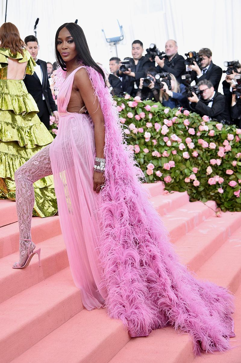 naomi campbell valentino pink dress Met Gala 2019 Red Carpet Camp Notes on Fashion