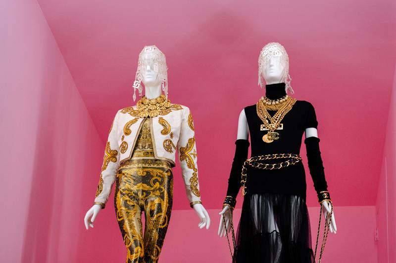 Metropolitan Museum of Art Spring 2019 Camp Notes on Fashion Exhibition Versace Jacket White Gold Top Skirt Black
