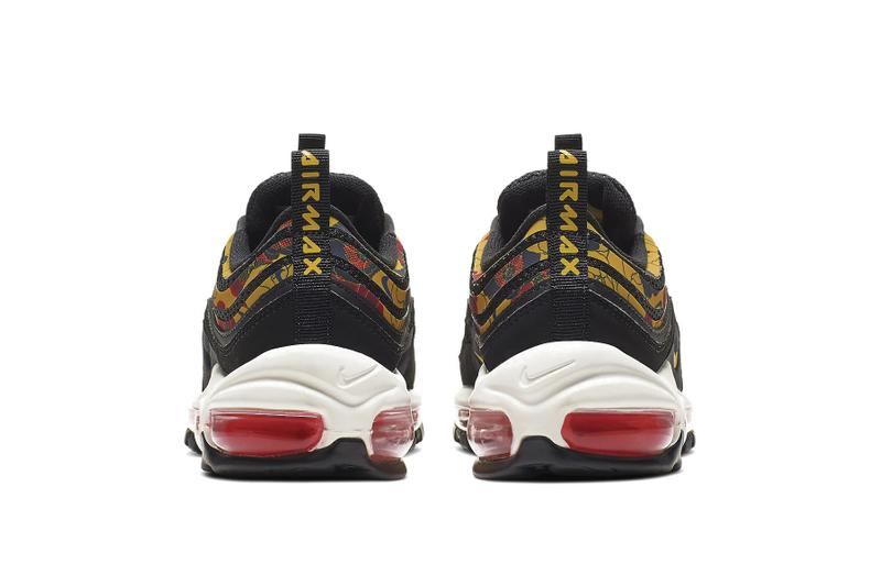 Nike Air Max 97 University Gold Floral Print White Black Summer Sneaker Shoe Release