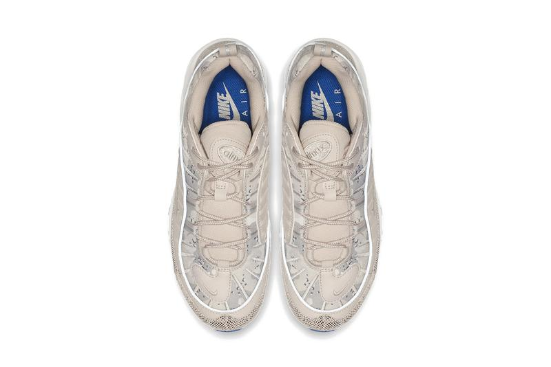 "Nike Air Max 98 Premium ""Camo"" Sneaker Beige Blue Grey pattern texture upper shoe summer trainer"