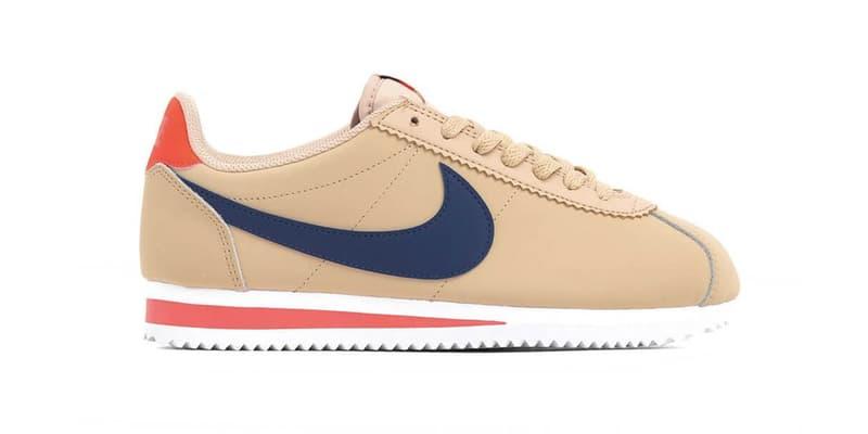 """Nike Cortez """"Desert Ore/Deep Royal Blue"""" Sneaker Release Drop Beige"""