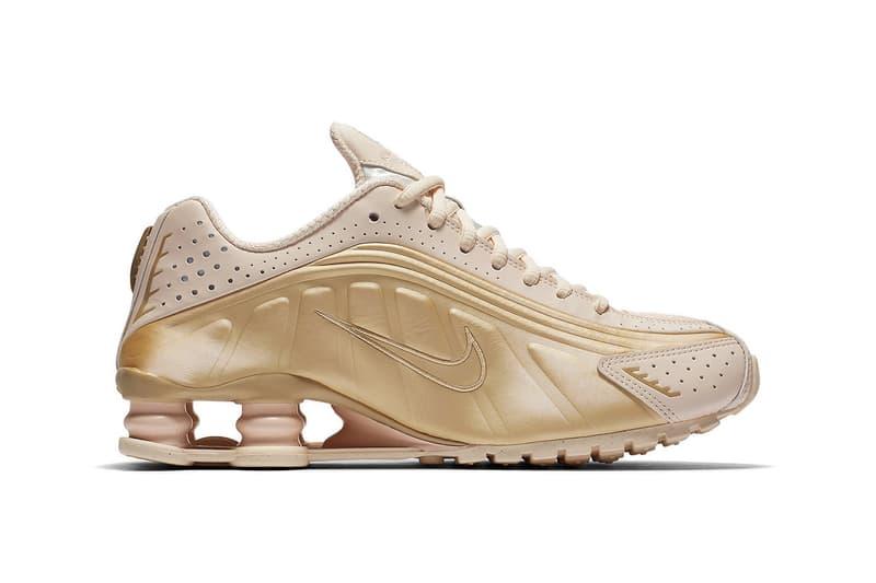 "Nike Shox R4 ""Guava Ice"" Gold Pink Release Sneaker Retro Silhouette shoe Swoosh Metallic Summer"