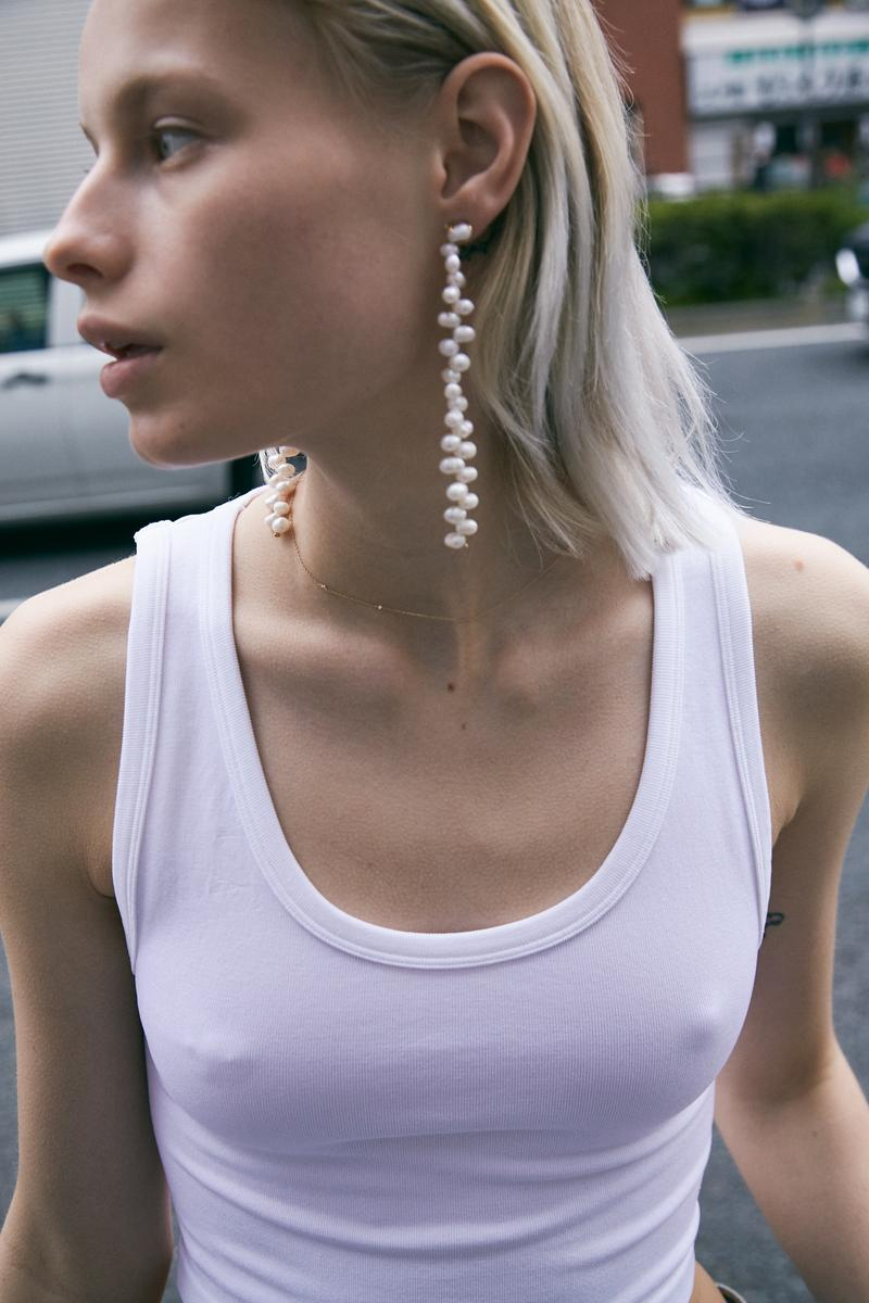 Numbering Spring Summer 2019 Lookbook Pearl Earrings White