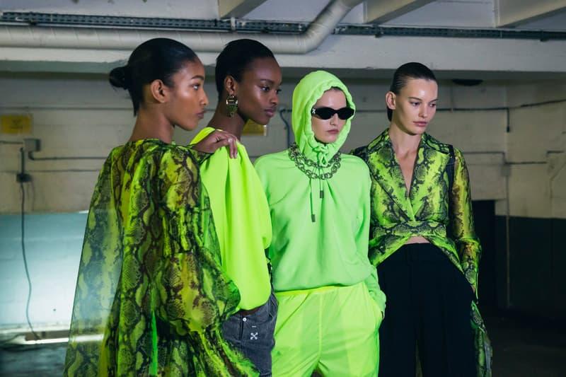 Off White Virgil Abloh Spring Summer 2019 Paris Fashion Week Show Collection Hoodie Snakeskin Jacket Shirt Green Black