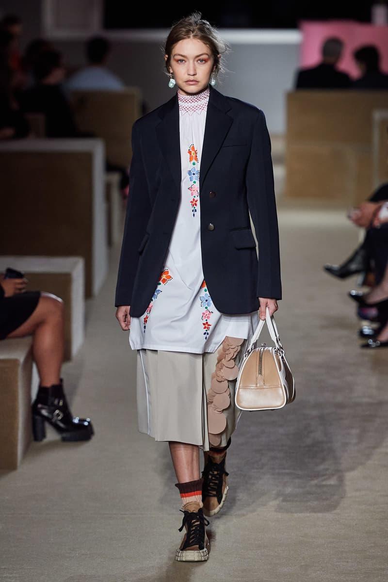 Prada Resort 2020 Collection Show New York Gigi Hadid Blazer Blue Shirt White