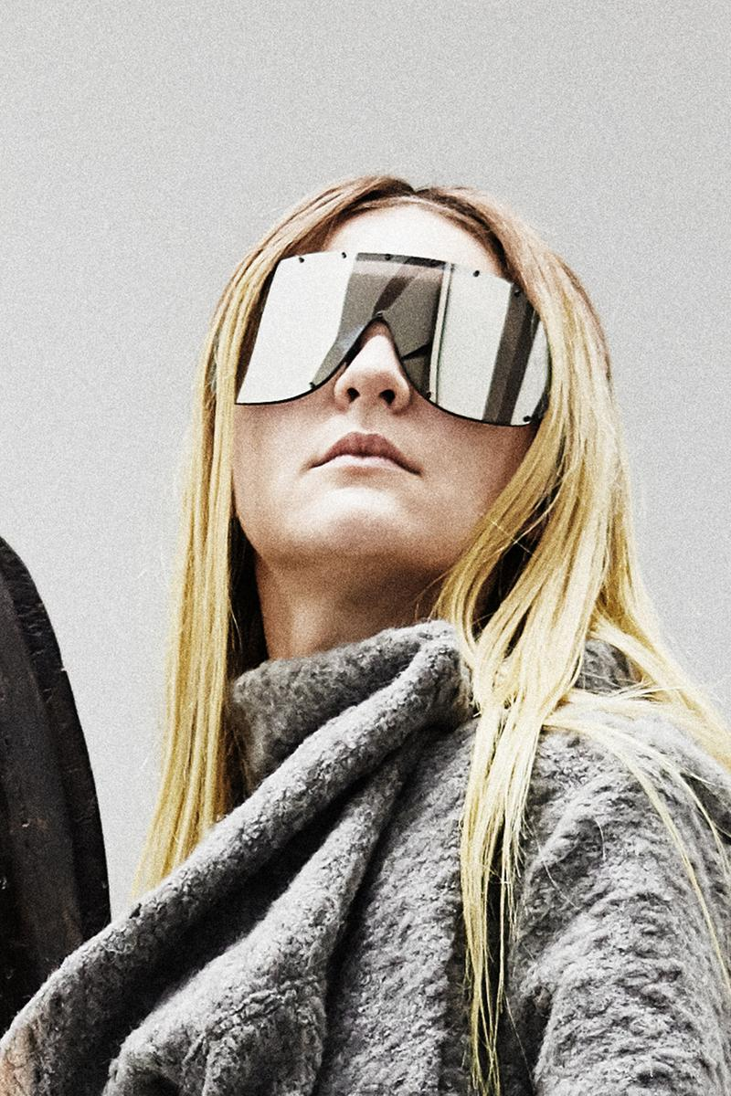 Rick Owens Sunglasses Collection Shield Silver