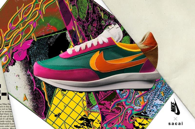 sacai x Nike LDWaffle Daybreak Pink Green White