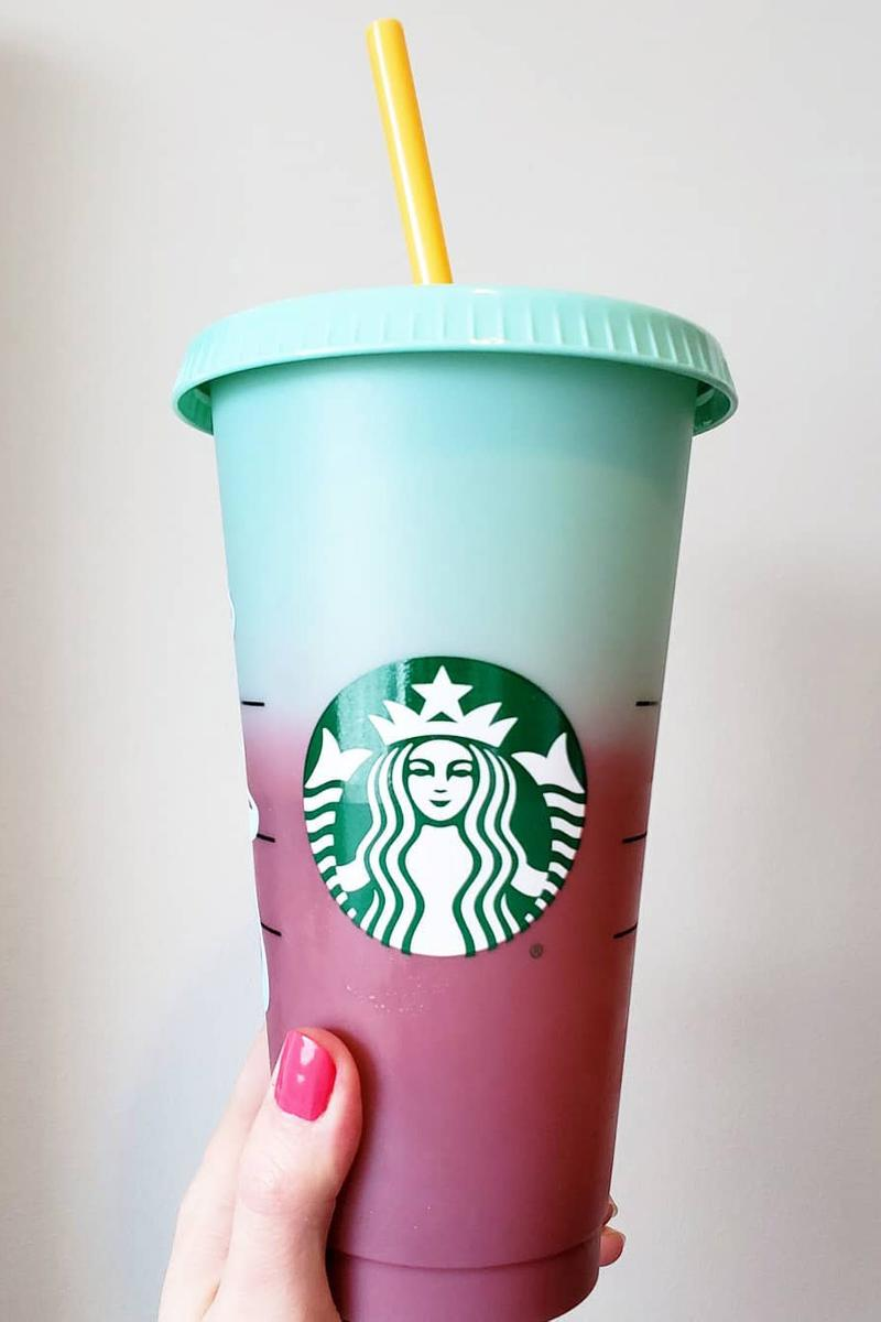 Starbucks Color Changing Reusable Mug Cup Tumbler Drink Pink Green Yellow Blue Purple