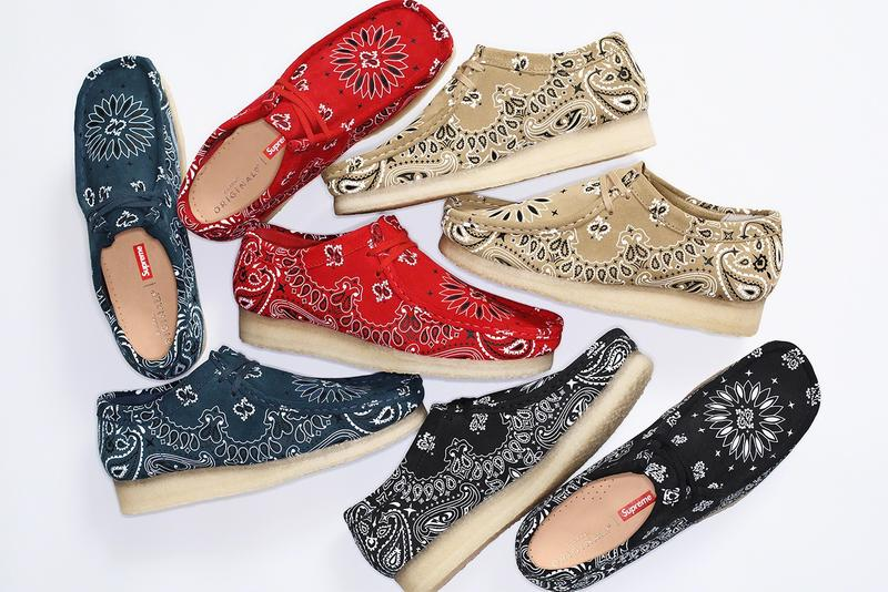 Supreme Clarks Originals 2019 Summer Wallabees Wallabee Footwear Shoes Collaboration Red Blue Black Beige Tan Paisley Pattern