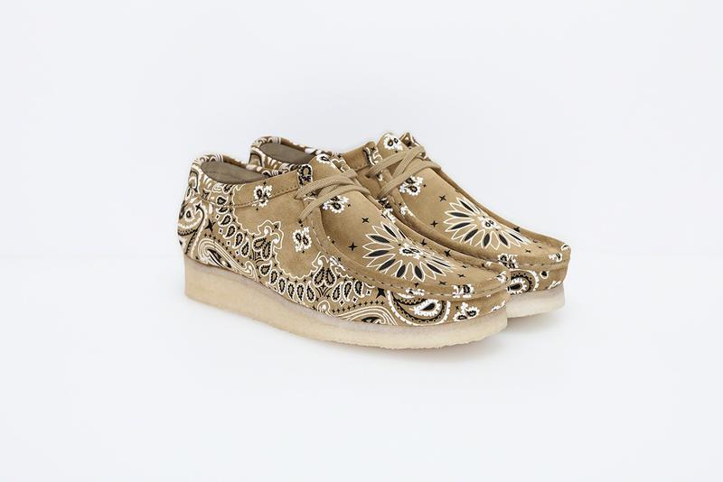 Supreme Clarks Originals 2019 Summer Wallabees Wallabee Footwear Shoes Collaboration Beige Tan Paisley Pattern