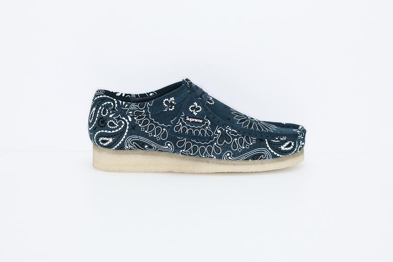 Supreme Clarks Originals 2019 Summer Wallabees Wallabee Footwear Shoes Collaboration Blue Paisley Pattern