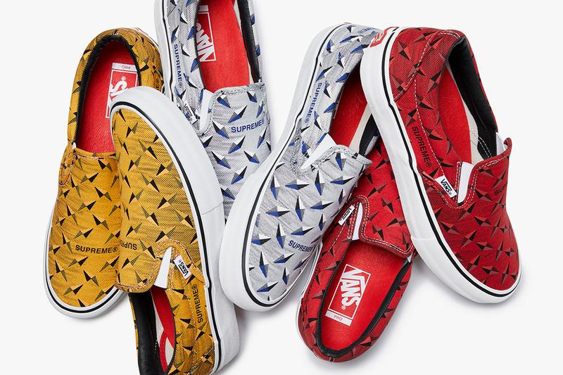 Supreme x Vans Spring Summer 2019 Diamond Sneaker Capsule Collection Slip On Pro Yellow Grey Red Black White