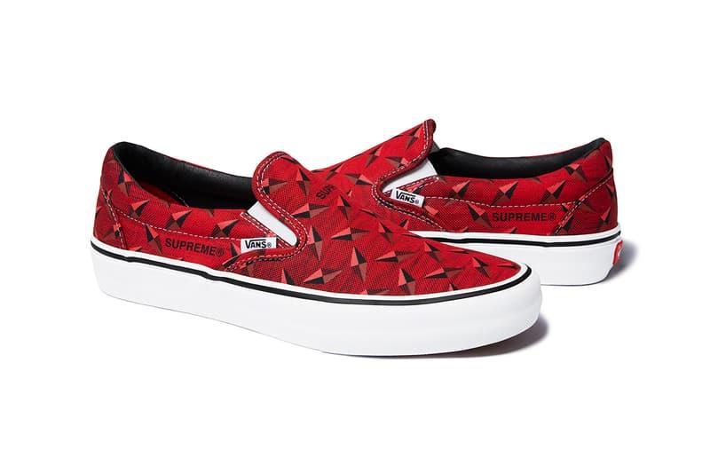 Supreme x Vans Spring Summer 2019 Diamond Sneaker Capsule Collection Slip On Pro Red White Black