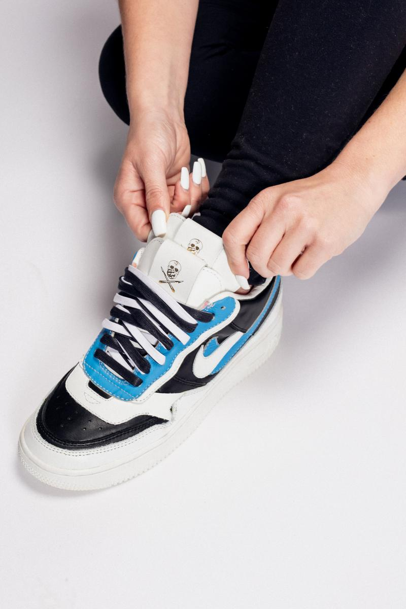 The Shoe Surgeon sacai x Nike Air Force 1 Blazer Mid White Teal Black