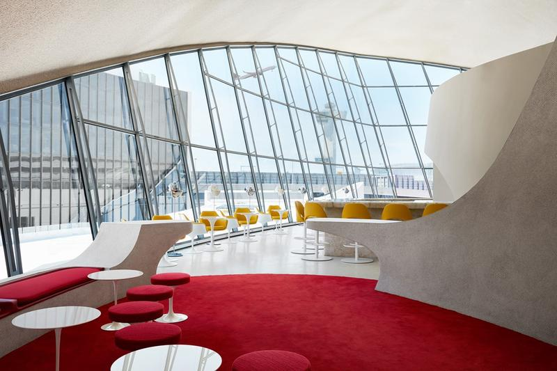 TWA Hotel JFK Airport New York Lounge Cream White Red