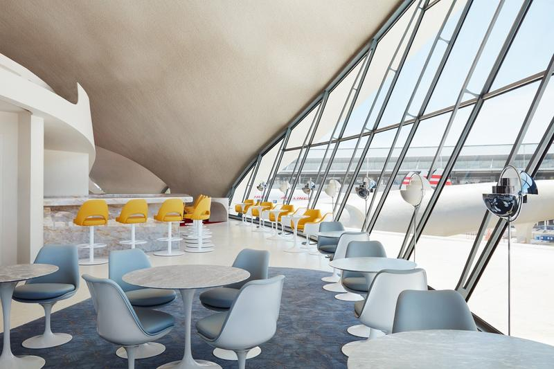 TWA Hotel JFK Airport New York Lounge Cream White Yellow