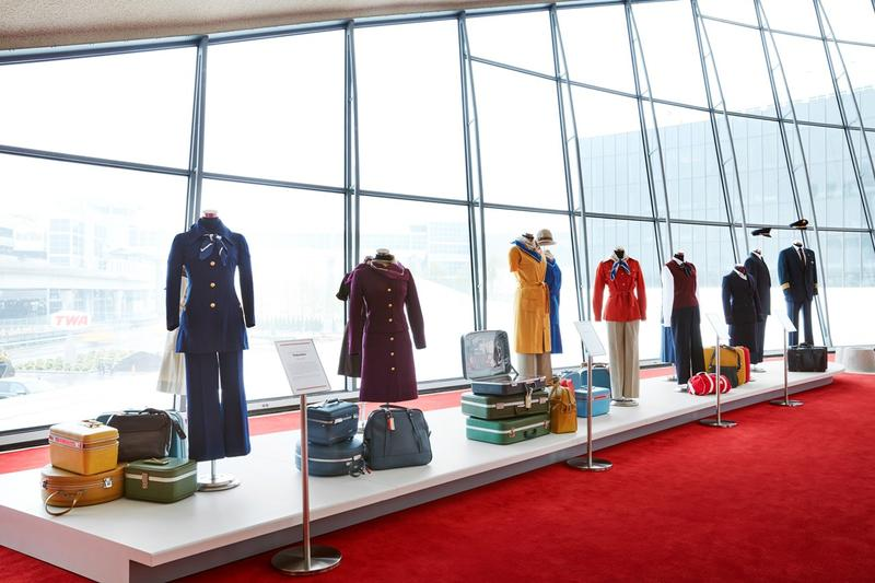 TWA Hotel JFK Airport New York Airline Uniform Exhibition Yellow Red Blue