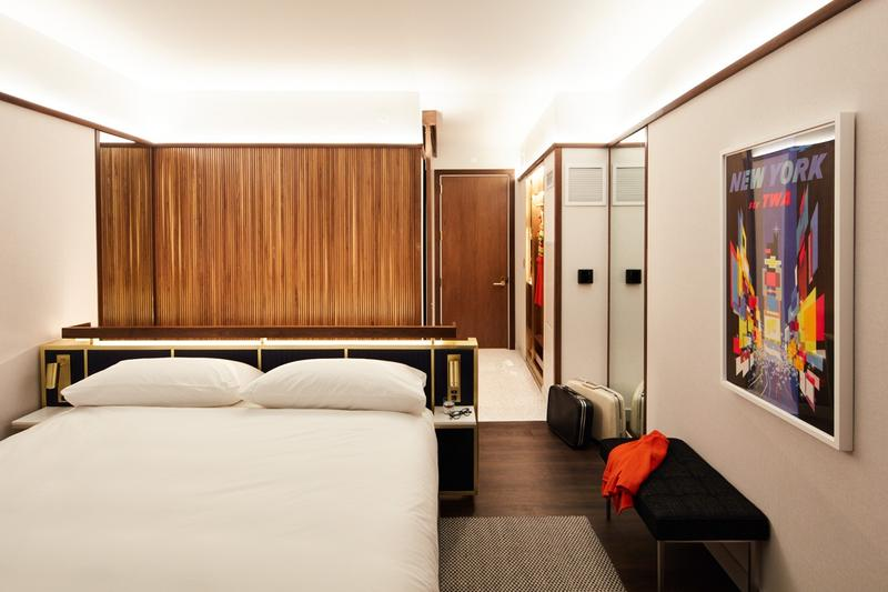 TWA Hotel JFK Airport New York Room Walls Brown Bed White