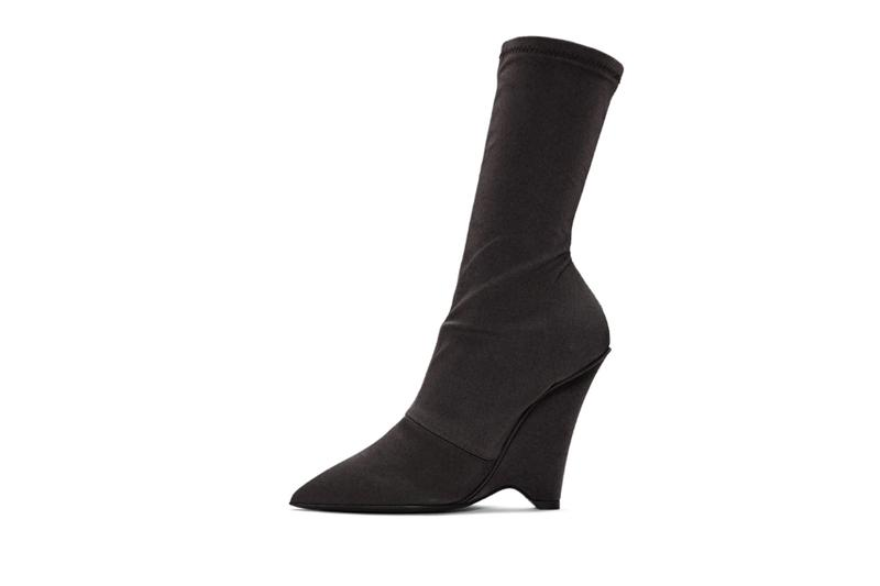 YEEZY Season 8 Collection Black Satin Stretch Wedge Boots