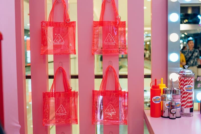 3CE Diner Pop Up Hong Kong Beauty Makeup Neon Totes Pink