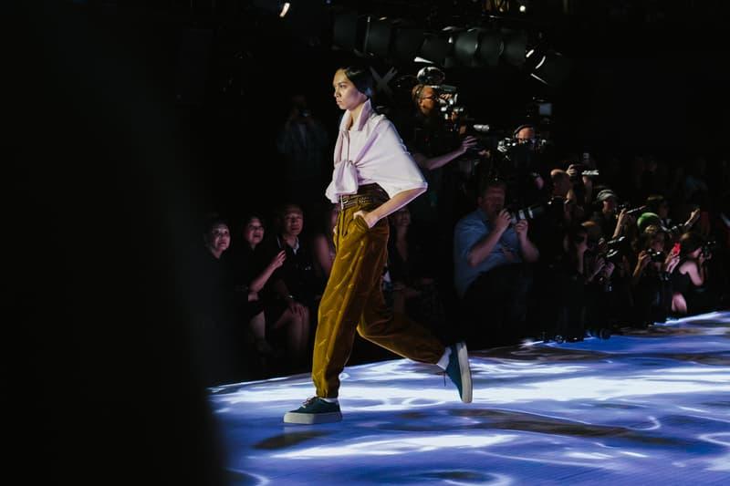 Alexander Wang Spring Summer 2020 Runway Show Rockefeller Center New York American Flag America Designer Corduroy Pants Shirt
