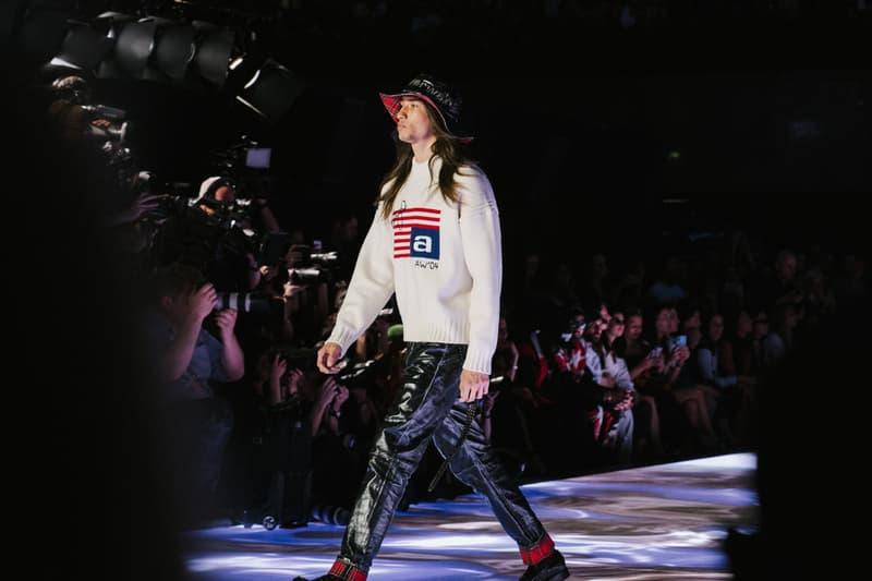 Alexander Wang Spring Summer 2020 Runway Show Rockefeller Center New York American Flag America Designer Sweater Leather Pants Bucket Hat