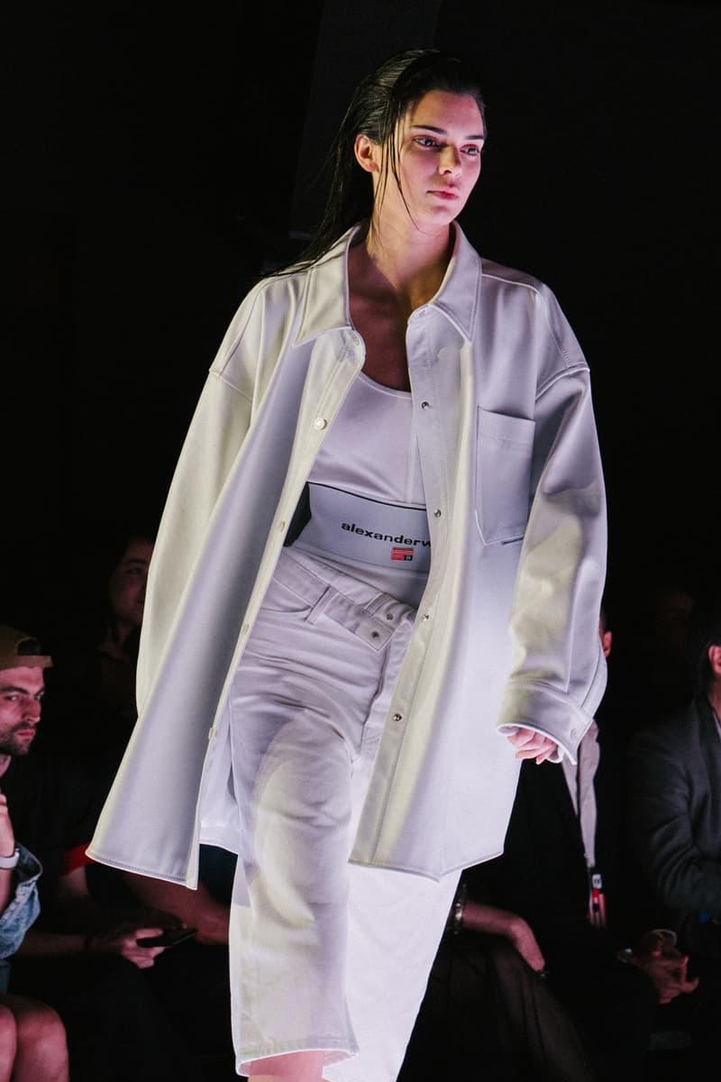 Alexander Wang Spring Summer 2020 Runway Show Rockefeller Center New York American Flag America Designer Kendall Jenner Jacket Model White Dress