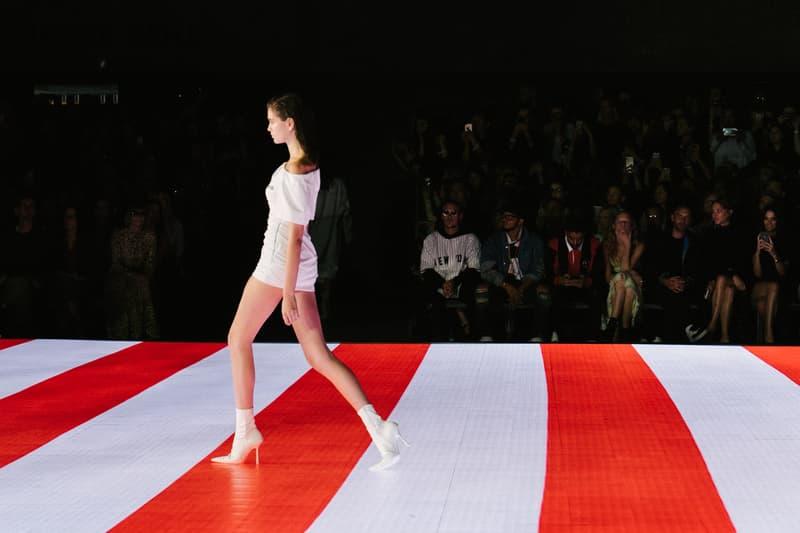 Alexander Wang Spring Summer 2020 Runway Show Rockefeller Center New York American Flag America Designer Kaia Gerber Model White Dress