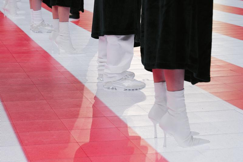 Alexander Wang Spring Summer 2020 Runway Show Rockefeller Center New York American Flag America Designer Footwear Shoes Boots White