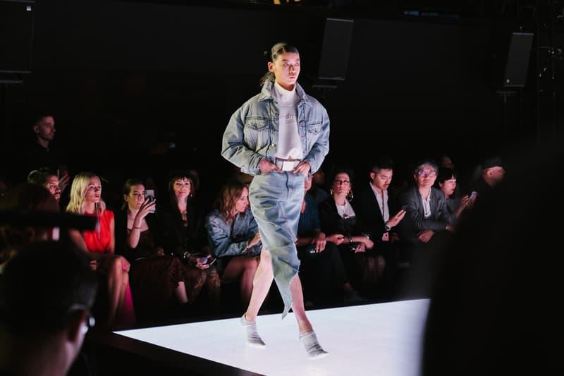 Alexander Wang Spring Summer 2020 Runway Show Rockefeller Center New York American Flag America Designer Model Denim Jacket Skirt