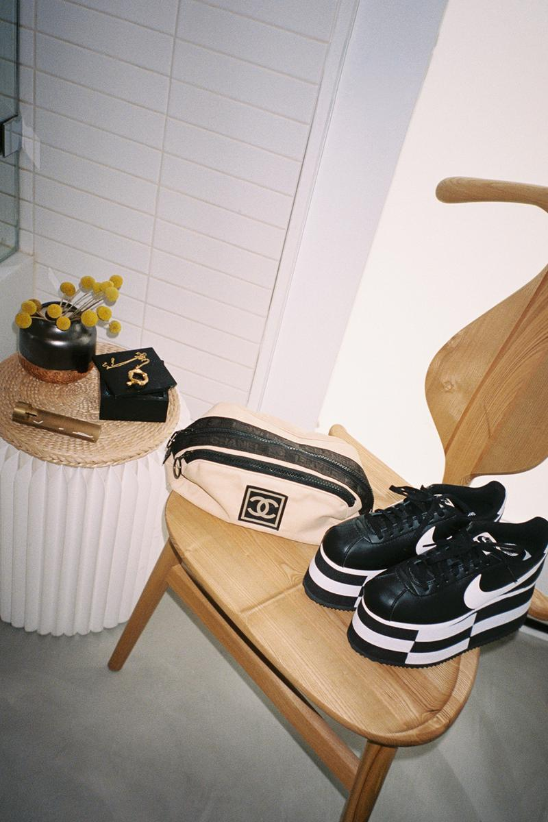 Nike Comme Des Garcons Platform Cortez Black White Checkered Chanel Sport Vintage Bag