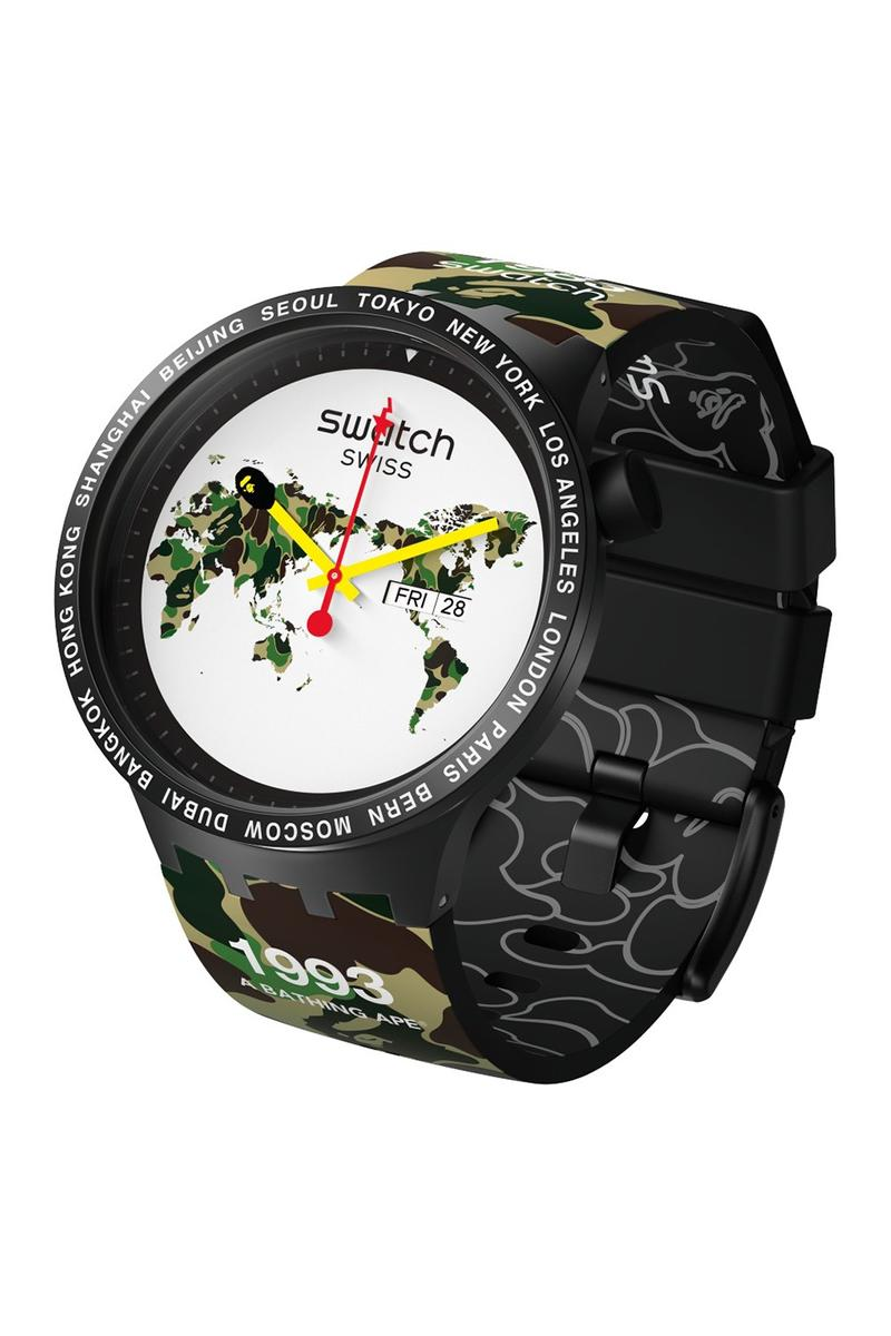 BAPE A Bathing Ape x Swatch Watch Collaboration Camouflage Green Black