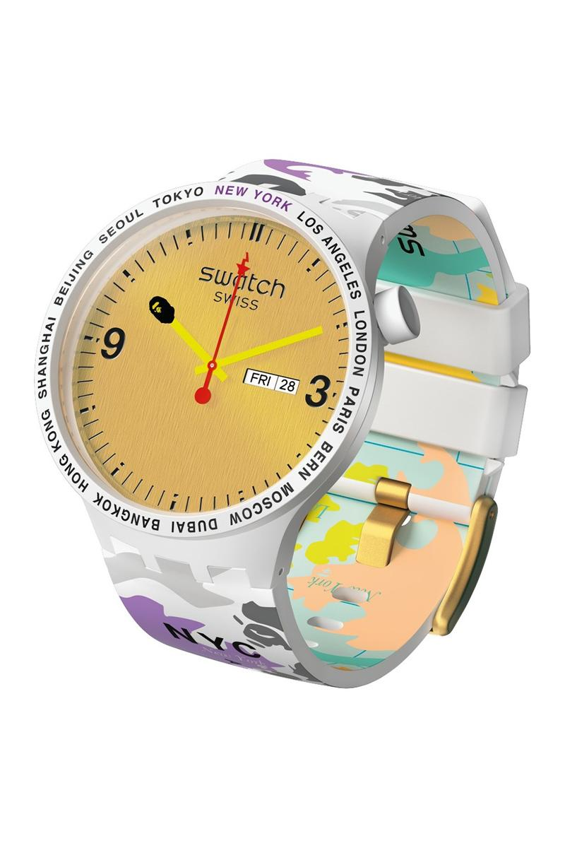 BAPE A Bathing Ape x Swatch Watch Collaboration White Yellow