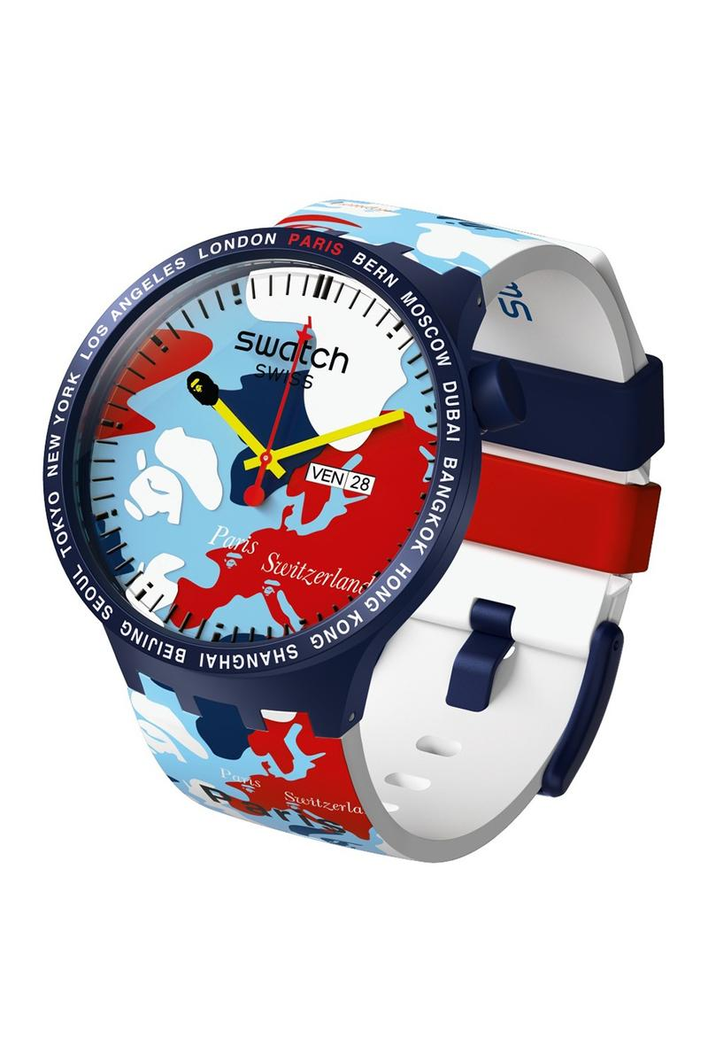 BAPE A Bathing Ape x Swatch Watch Collaboration Blue White Red