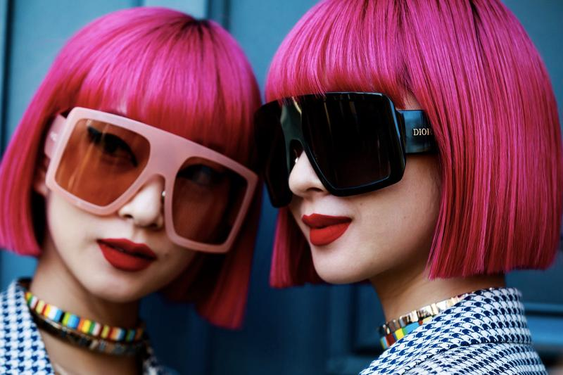 Ami Aya Japanese Twin Fashion Influencers Street Style Instagram Pink Hair Bob Haircut Fashion Week Dior Sunglasses