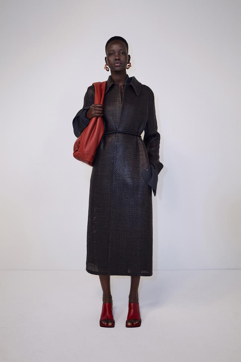 bottega veneta pre spring 2020 lookbook daniel lee leather bag footwear adut akech red black coat
