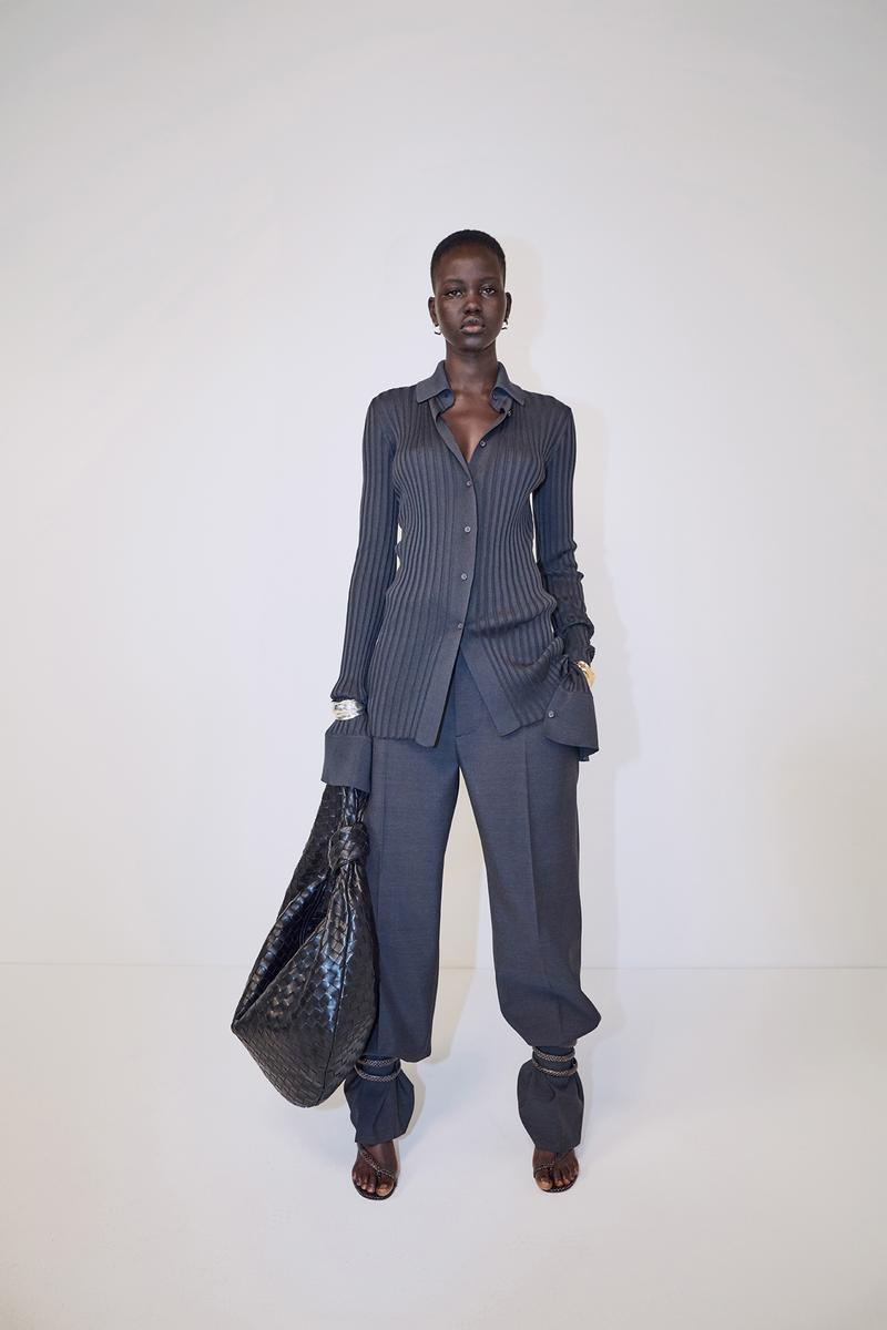 bottega veneta pre spring 2020 lookbook daniel lee leather bag footwear adut akech sandals strap