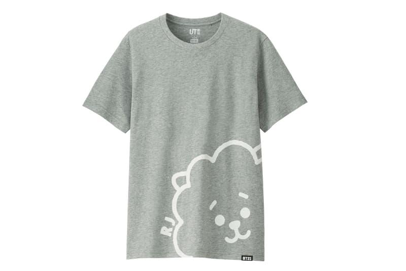 BT21 BTS Uniqlo UT Collaboration K-pop Big Hit Entertainment T-Shirt Grey Gray