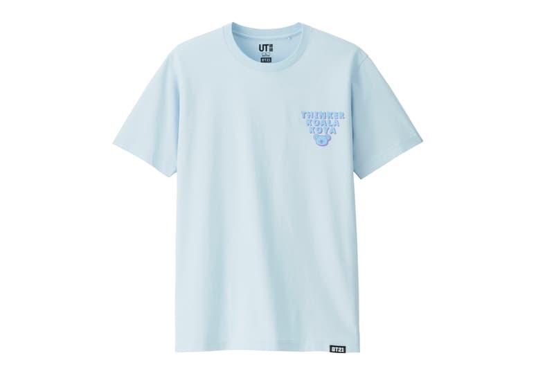 BT21 BTS Uniqlo UT Collaboration K-pop Big Hit Entertainment T-Shirt Pastel Blue
