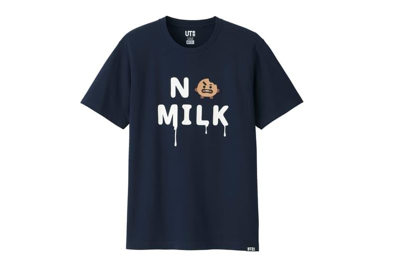 BT21 BTS Uniqlo UT Collaboration K-pop Big Hit Entertainment T-Shirt Black No Milk