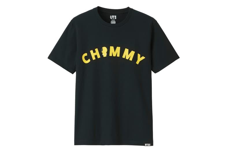 BT21 BTS Uniqlo UT Collaboration K-pop Big Hit Entertainment T-Shirt Black Yellow