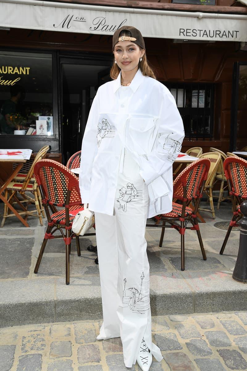 Gigi Hadid Louis Vuitton Menswear Spring Summer 2020 show Paris Fashion Week Men's 2019 Outfit Cap Hat White